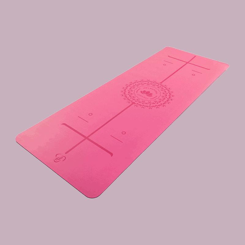 Pink Pozícióvonalas Csúszásmentes Jógamatrac