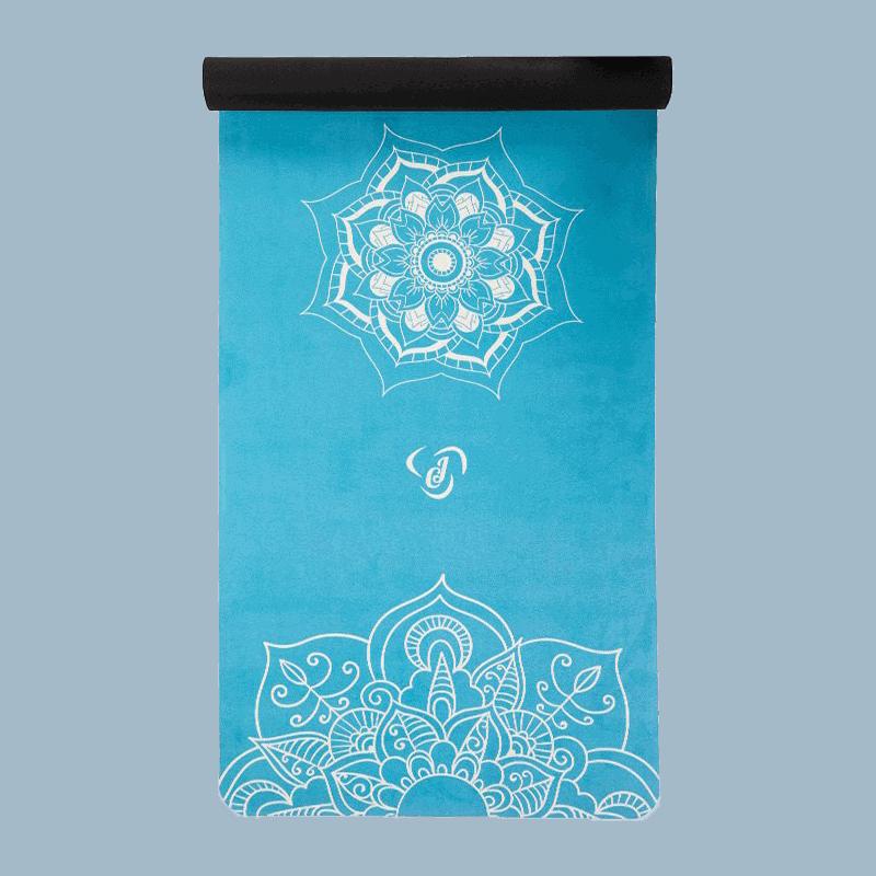 Kék Velúr Jógamatrac Mandala Mintával